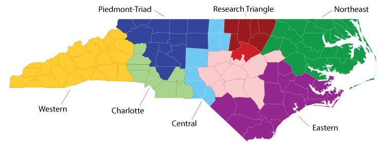 IES Regional Managers Interactive NC Map