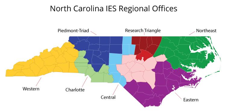 North Carolina IES Regional Office Locations-Map